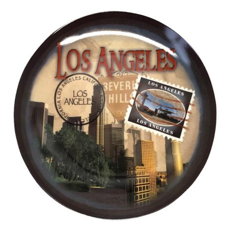 Los Angeles, Beverly Hills Stamp post card design decorative Plate