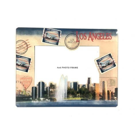 Los Angeles and Beverly Hills Stamp Glass Frame