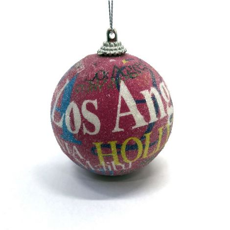 Los Angeles, Hollywood Pink Christmas Ornament