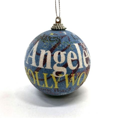 Los Angeles, Hollywood Blue Christmas Ornament