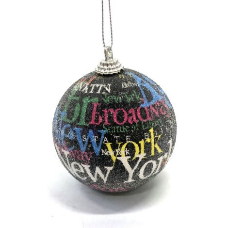 New York, Black Christmas Ornament