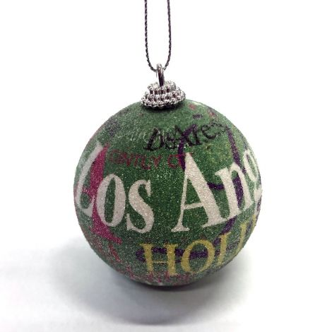 Los Angeles, Hollywood Green Christmas Ornament
