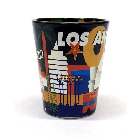 Drawing Of Land Marks In Los Angeles Shot Glass