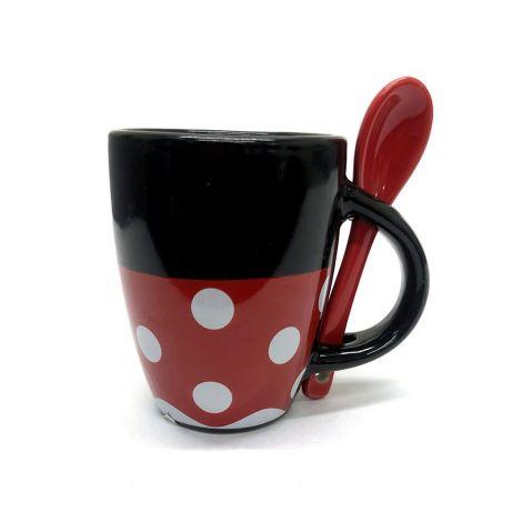 Disney Minnie Mouse Red And Black Mug Espresso Mug With Spoon