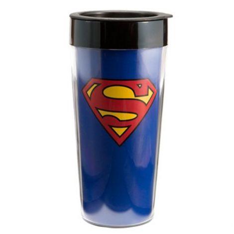 Superman 16 oz. Plastic Travel Mug